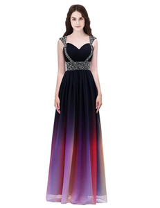Real Image Gradient 2019 Spaghetti Straps Prom Dresses Beaded Crystal Zipper Back A Line Designer Occasion Dresses Evening Dresses