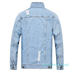 Fashion- Men Ripped Jean Jackets Washed Distressed Denim Trucker Jackets Light Blue Outerwear Doe Man Turn Down Collar