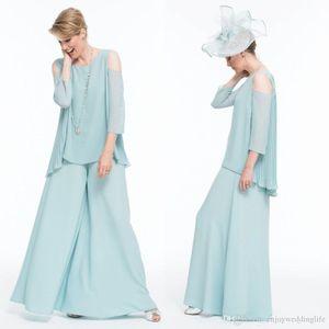 2020 Mère élégante de la mariée deux pièces Costume mère du pantalon en mousseline de soie Epoux Invité de mariage Robe Livraison gratuite