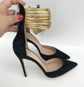2019 Primavera e l'estate New Red Bottom con Golden Foot Ring Women Dress Shoes RHollow Bocca Superficiale, Cut-Out Scarpa con tacco alto / Sandali 10cm