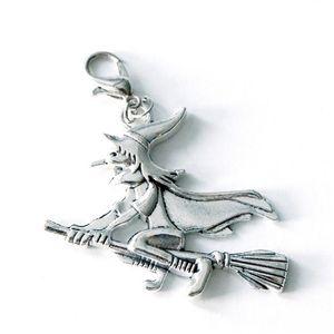 2X grande Bruja en la escoba encanto del tirador de la cremallera encanto de la bruja clip en
