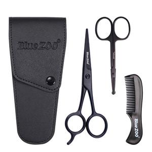 Beard Mustache Scissors Comb Set Kit for Men Care 3Pcs Kit with Bag nasal hair scissors Hairdressing Scissors Comb