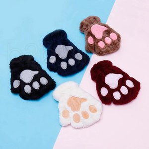 Children Fluffy Plush Gloves Fashion Girl Winter Mittens Paws Gloves Stage Perform Prop Cute Cat Claw Glove Gifts RRA2232