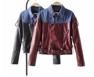 Fashion Spring autumn new women lapel denim stitching lapel style strap leather jacket female PU leather top JACKET COAT Outerwear
