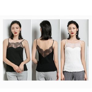 Spring and Summer New Style Sleeveless Bottom Shirt with Sexy Lace Stitching and Lace Suspension vest