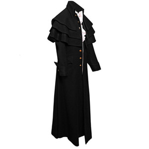 Men Victorian Costume Black Tuxedo Fashion Tailcoat Gothic Steampunk Trench Jacket Coat Frock Outfit Dovetail Uniform For Adult