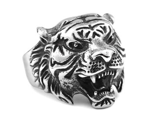 Fashion Rock Men Tough guy style punk Vintage Domineering tête de tigre anneaux de haute qualité Males Biker Animal Rings bijoux