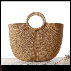2019 여성을위한 세련된 라운드 비치 짚으로 올려 놓 가방 카키 베이지 손 가방 26 * 36cm 여름 해변 운반