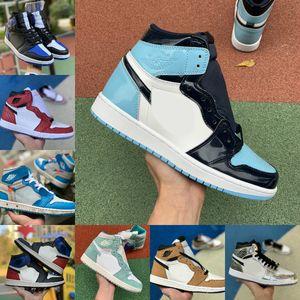 Vente High 1 OG GS X Hommes Basketball Chaussures Obsidian ASG UNC Crimson Tint sans Peur Banned Retroes Toe Chicago Femmes Blanc Vert Chaussures de sport de
