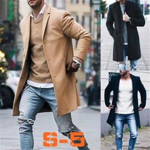 Las lanas de la capa del invierno Trench hombres de la moda Outwear Abrigo de manga larga causal larga chaqueta