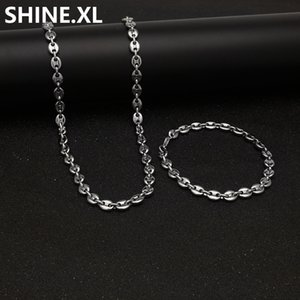 """316L Stainless Steel Coffee Bean Chain 22""""Necklace and 8""""Bracelets Fashion Hip Hop Jewelry Set Gold Chain for Men"""