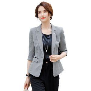 Ternos Mulheres Blazers Feminino Elegante Escritório Formal Senhoras Trabalho de Trabalho Primavera Verão Cinzento e Jaquetas Mulheres Casaco Casacos Meia Manga Estilos