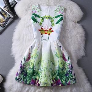 2015 Sıcak Yeni Bahar Yaz Kadın Elbise Vintage Dijital Akşam Parti Elbise yazdır