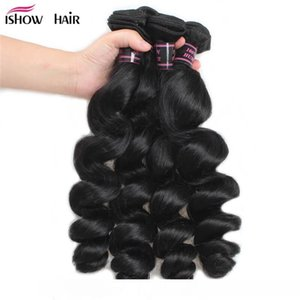 B Hot Brazilian Peruvian Malaysian Indian Loose Wave Ishow 8a Human Hair Extensions 3bundles With Lace Frontal Cheap Weave Online Whole
