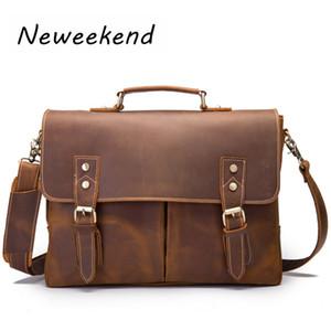 New Fashion cowhide male commercial briefcase Real Leather vintage men's messenger Shoulder bag Cowskin Business Laptop bag 9091