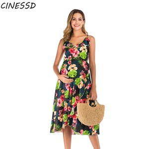 Sling Print Maternity Dress Women Casual Sleeveless V-neck Dresses for Pregnant Photography Props Floral Pregnancy Clothes Plus