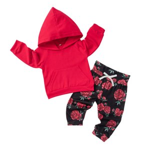 Autunno ragazza del neonato vestiti Set maniche lunghe con cappuccio Top + floreale delle ghette dei pantaloni 2PCS regolato l'attrezzatura Sunsuits Clothings