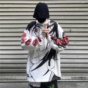 Naruto Uchiha animado japonés Streetwear Hip Hop camiseta impresión de la moda camiseta de manga larga de Harajuku ocasionales de los hombres unisex camiseta