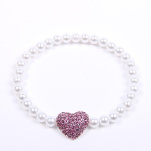 Dog Pet Pearls Necklace Collar Rhinestone Heart Charm Pendant Pet Puppy Jewelry for Dogs Cats Small Medium