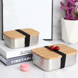 800ml의 나무 도시락 한 레이어 식품 보관 용기 학교 피크닉 도시락 박스 스테인레스 스틸 식품 용기 대나무 뚜껑 초밥 상자