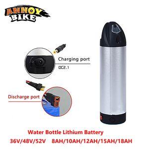 Bouteille d'eau Batterie au lithium 36V48V52V 8/10/12/15 / 18AH vélo électrique Lithium ion eBike batterie vélo Scooter avec chargeur