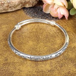nuova Boemia zingaresca Retro braccialetti d'argento delle donne handmade classico d'argento tibetano intagliato Diametro prugna Braccialetti del polsino 6cm