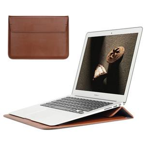 PU Leather Sleeve Protector Bolsa Para Macbook Air 13 Pro Retina 12 15 Laptop Capa Para Macbook novo Air 13 A1932 suporte Tampa