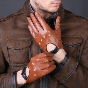 جديد رجالي فاخر وصول قفازات جلدية حقيقية جلد الغنم قفازات أزياء الرجال السود تنفس لتعليم قيادة السيارات على ذكر القفازات T191112