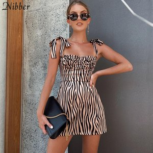 Nibber women sexy bow sling striped mini dress 2019 spring summer new French Romantic Club Party Dress ladies Street casual wear T200707