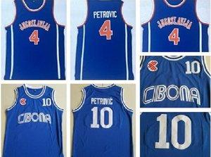 Para hombre de la graduación de # 10 Cibona Drazen Petrovic jerseys del baloncesto Drazen Petrovic # 4 Jugoslavija Yugoslavia, Croacia camisas azules