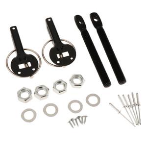 Preto Bonnet Hood, Car alumínio Trava Captura Pin Porta-Locking Kit de Corrida Sport Car (1 Set)