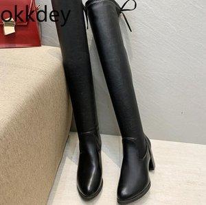 Okkdey Yeni Ayakkabı Kadınlar Siyah Çizme 7 cm yüksekliğinde Diz Boots Kadınlar Sonbahar Kış Lady Uyluk Seksi High Üzeri