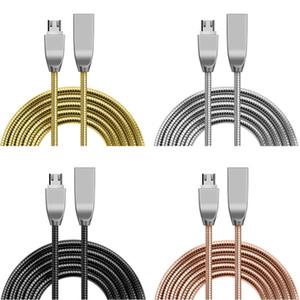 samsung 2A Zamak Paslanmaz Otomatik şarj Yay metal mikro tip c USB veri şarj kablosu s6 s7 s8 HTC