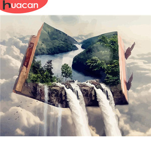 2020 Oil Painting By Numbers Waterfall Landscape Paint Canvas Coloring Picture Book HandPainted Home Decoration