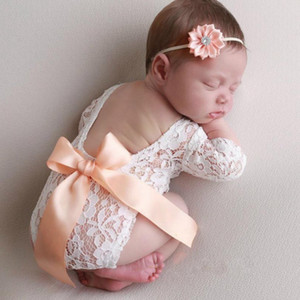 Lace Newborn Romper Infant Bow Vest Jumpsuits Headband 2pcs Sets Photo Shoot Princess Clothes Baby Photography Props 3 Colors DW5494