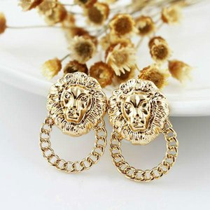 New coming bijoux women novelty items gold filled fashionable alloy small lion head stud earrings for women free ups dhl