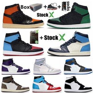 1 Yüksek Mahkeme Mor Çam Green 1s Erkek Kadınlar Basketbol Ayakkabı Shattered Arkalık Obsidian 1 Oyun Kraliyet UNC Bloodline Spor Sneakers Ayakkabı