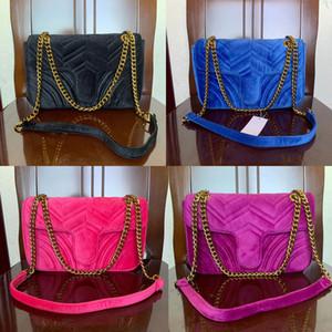 Vendita calda dei sacchetti di modo delle donne della spalla Classic Gold Chain 26 centimetri Velvet Bag Donna Stile Cuore borsa Tote Borse Borse Messenger