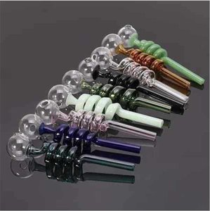 High Quality Curve Glass Oil Burner Pipe 14cm 30mm Ball Color Bent Glass Pipes for Smoking Hand Smoking Tobacco Pipes for Water Bong 10pcs