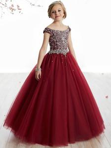 2019 Vintage Flower Girl Abiti per matrimoni Borgogna Pageant Girl Princess Tulle Tutu Perline Cristalli Bambini Primi abiti da comunione