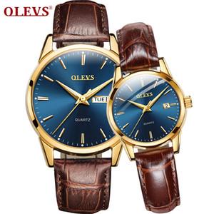 de par correa de cuero de lujo de la marca superior reloj de las mujeres reloj de cuarzo de fecha automático hombres y moda OLEVS aumentaron de línea caja de oro