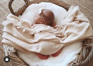 Muslin du nouveau-né solide Tassel bébé Swaddle Blanket Couverture Swaddle Wrap réception du nouveau-né bébé Filles Garçons Tassel doux emmailloter