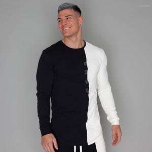 Aptitud camisetas Autmn primavera entrenamiento Diseñador remiendo Tops para hombre de la gimnasia