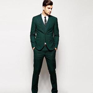 싸구려 세 조각 녹색 남자의 공식 턱시도 두 버튼 노치 옷 깃 인과 옷 Groommen 웨딩 복 세트 2019 dsy167
