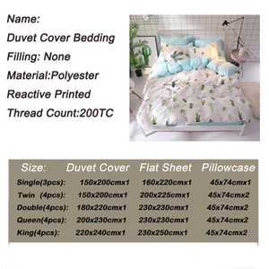 Bonenjoy Green Cactus Queen Size Plant Bedding Sheet Single Linen roba de cama King Bed Set Duvet Cover Y200417