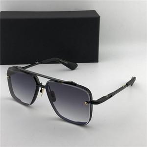 Оптовая продажа-роскошь-матовый черный 121 квадратных солнцезащитных очков коричневый градиент линзы солнцезащитные очки мужчины дизайнерские солнцезащитные очки новый с коробкой