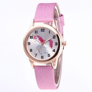 Kinder-Uhr-Mode-nette Karikatur-Einhorn-Lederband Armbanduhr Klassische Digital-Mädchen-Jungen-Uhr-Kind-Quarz-Uhr