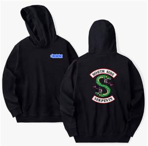 Erkekler Hoodie Unisex Zip Kazak Programı Harf Baskılı Jumper Sweatshirt Ceket Southside Yılan Riverdale