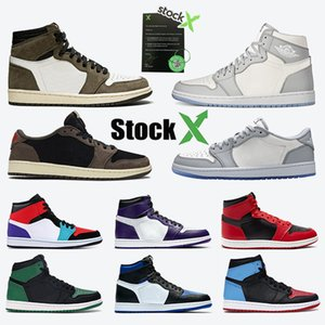 Nike Air Jordan Retro Union x 1 OG NRG Blue Red Mens scarpe da basket 1s Court purple Nessuna foto Barons Chicago Top 3 Scarpa da donna Bred Toe