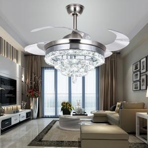 Soffitto di cristallo illumina il ventilatore invisibile Fan di cristallo luci Soggiorno Camera da letto moderno ristorante Ventilatore a soffitto da 42 pollici con telecomando